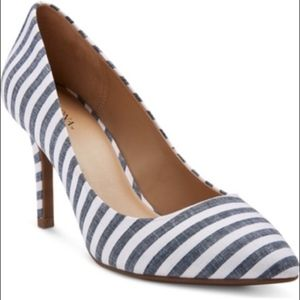 Merona Alexis Denim Blue Stripe Heels New